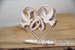 Love in 3D - Heart, doves and rings 3D - serce 3D do boxa 10 cm
