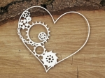 Steampunk - Flying hearts - half gear heart