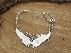 Steampunk - Flying hearts - Small heart frame - mała ramka z sercem