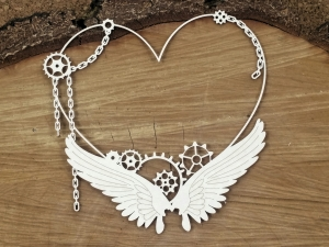 Steampunk - Flying hearts - Big heart frame - duża ramka z sercem