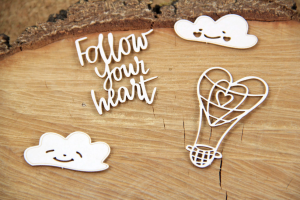Clouded hearts - Baloon - chipboard set