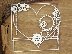 Steampunk - Flying hearts - Big square frame - duża ramka kwadratowa