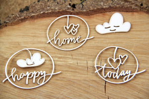 Clouded hearts - Happy - chipboard set